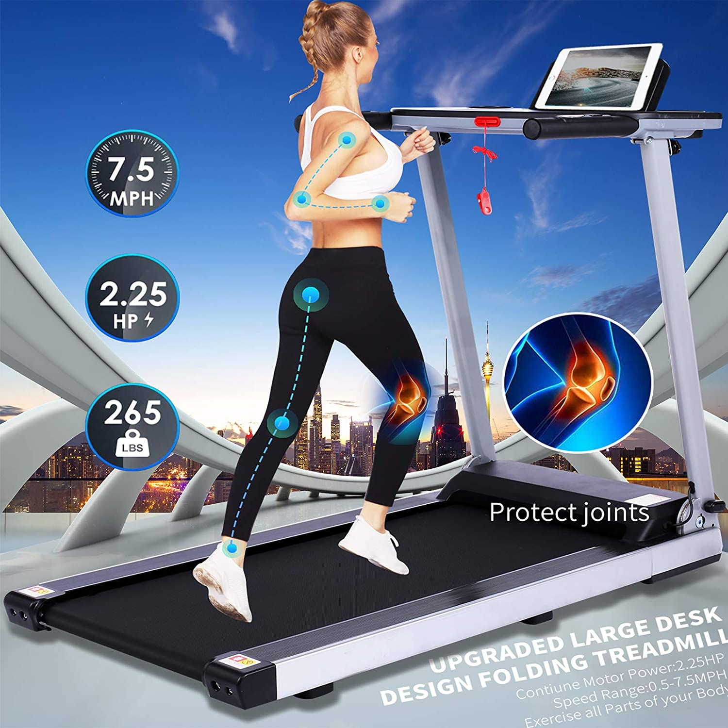 FUNMILY Folding Electric Treadmill,/12 preset Programs Heavy Duty Steel Frame Treadmills with Large Desk,//Best 2.25HP Exercise Jogging Walking Running Machine for Home Gym Office Workout