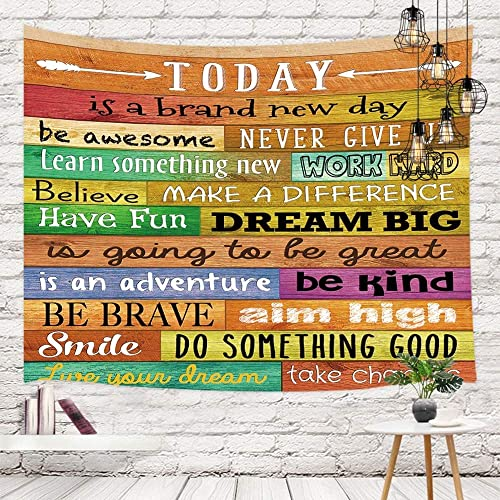 Funny Motivational Quotes Tapestry Wall Hanging Wall Art, Inspirational Words Print on Colorful Rustic Wooden Plank Board Tapestry, Tapestries for Living Room Bedroom Dorm, Bedding Tapestry, 90X70in
