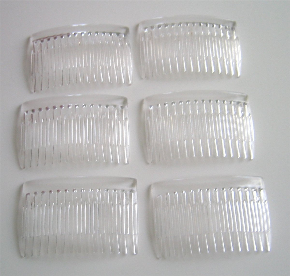 6 Clear Plastic Hair Combs Wedding Bridal Supplies DIY Accessory Veil Crafts Velvet Bridal