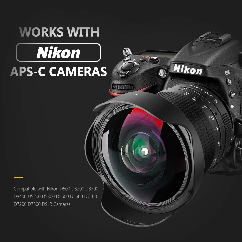 Neewer Pro 8mm f/3.5 Aspherical HD Fisheye Lente para Nikon D5,D4s ...