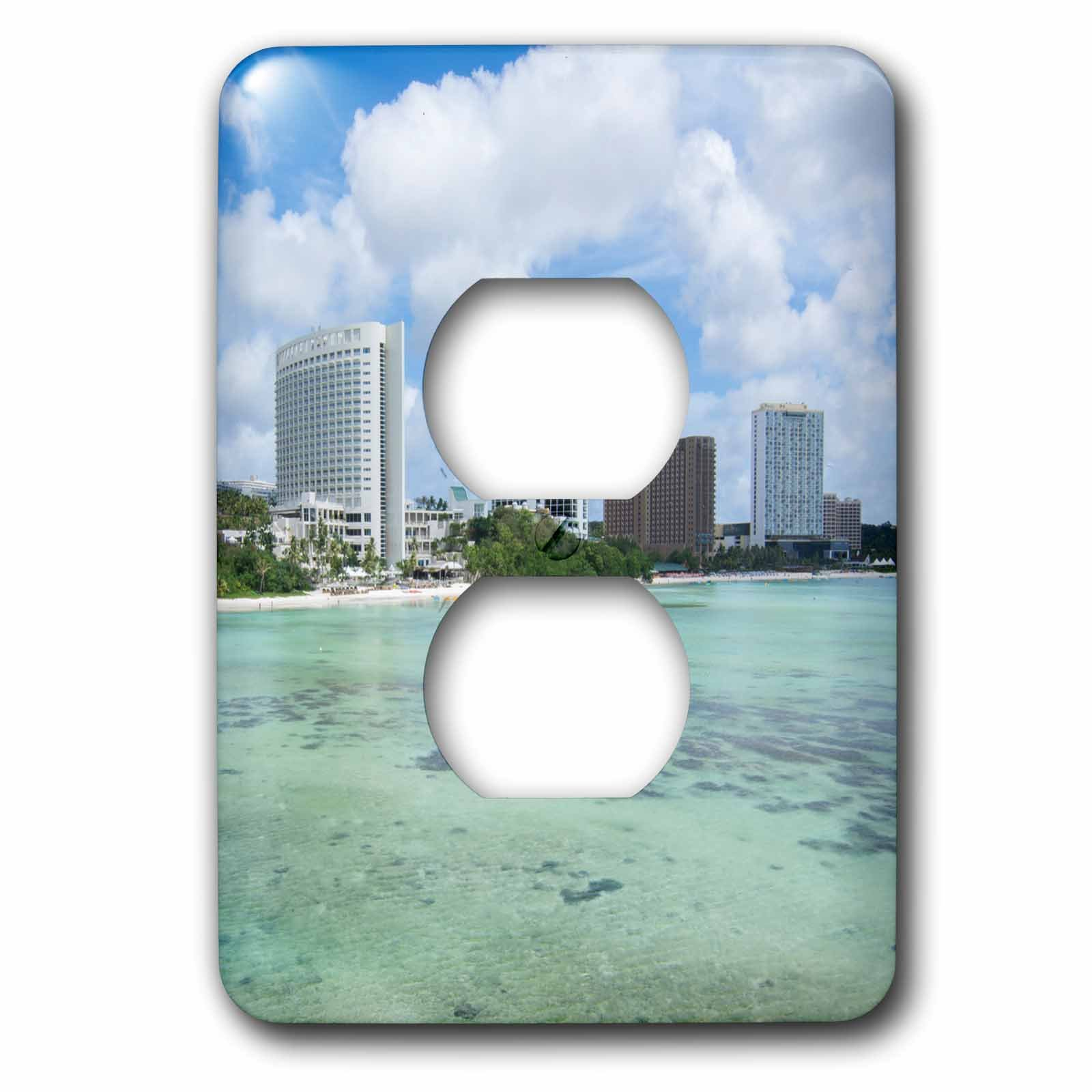 3dRose Danita Delimont - Cities - Guam Territory. Hotels line beach with clear tropical waters. - Light Switch Covers - 2 plug outlet cover (lsp_278126_6)
