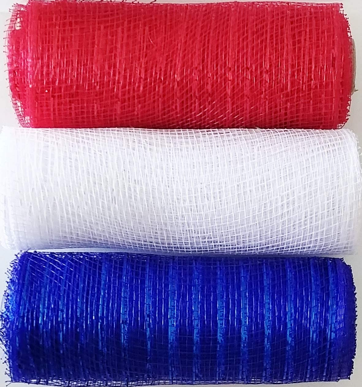 Set of 3 Red White and Blue Colored Tinsel Accent Deco Mesh Ribbon - Patriotic American Decor USA (Decorative, Craft, DIY, Crafting, Wreath Making, Bows, Centerpiece, Floral Bouquet, Gift Wrapping)
