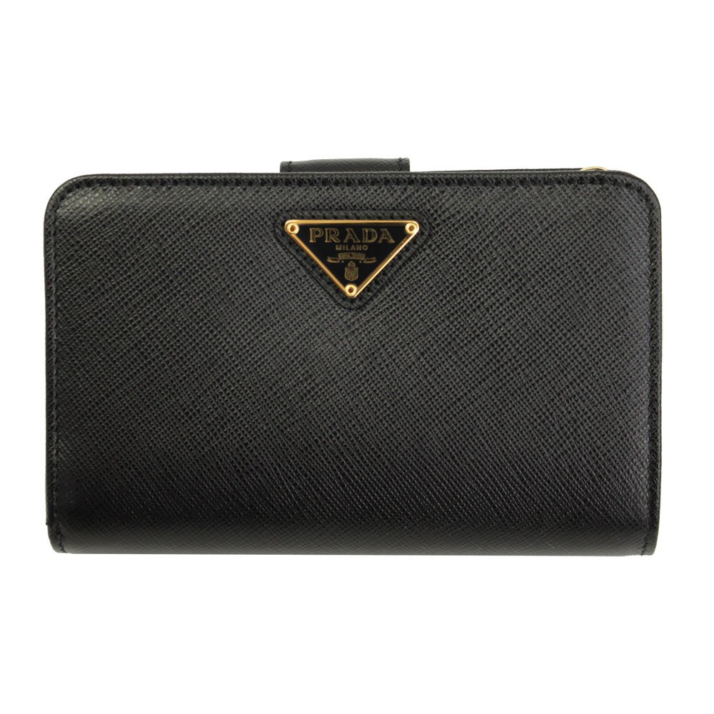 871938c2aeec Prada Black Saffiano Leather W/Triangle Logos Bi-Fold Wallet 1ML225 Nero:  Amazon.co.uk: Clothing