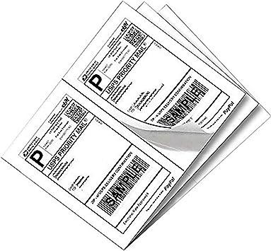 self adhesive blank labels half sheet 8.5x5.5 white 8.5 5.5 matte 50 labels