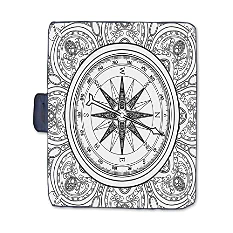 Amazon Com Tecbillion Compass Stylish Picnic Blanket Hand Drawn