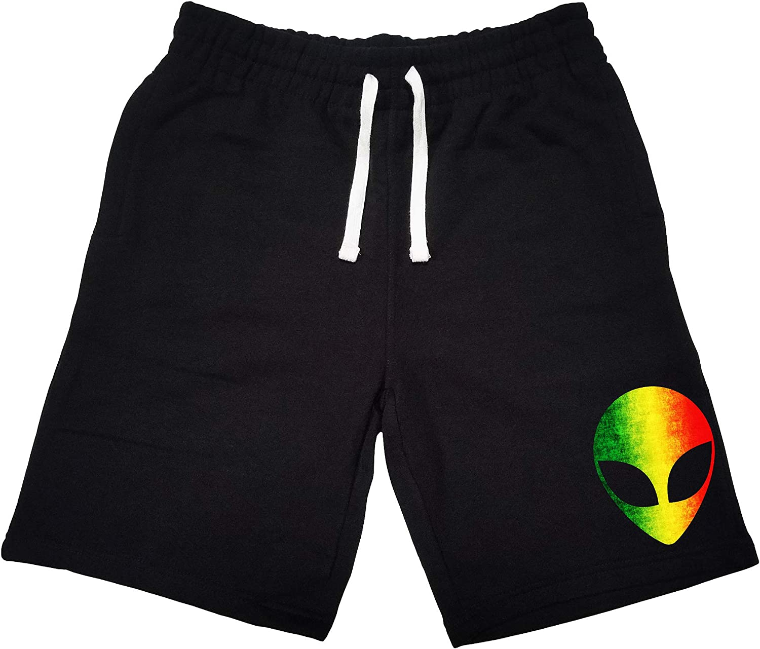 Mens Rasta Alien Head KT B1213 Black Fleece Jogger Sweatpant Gym Shorts Small Black