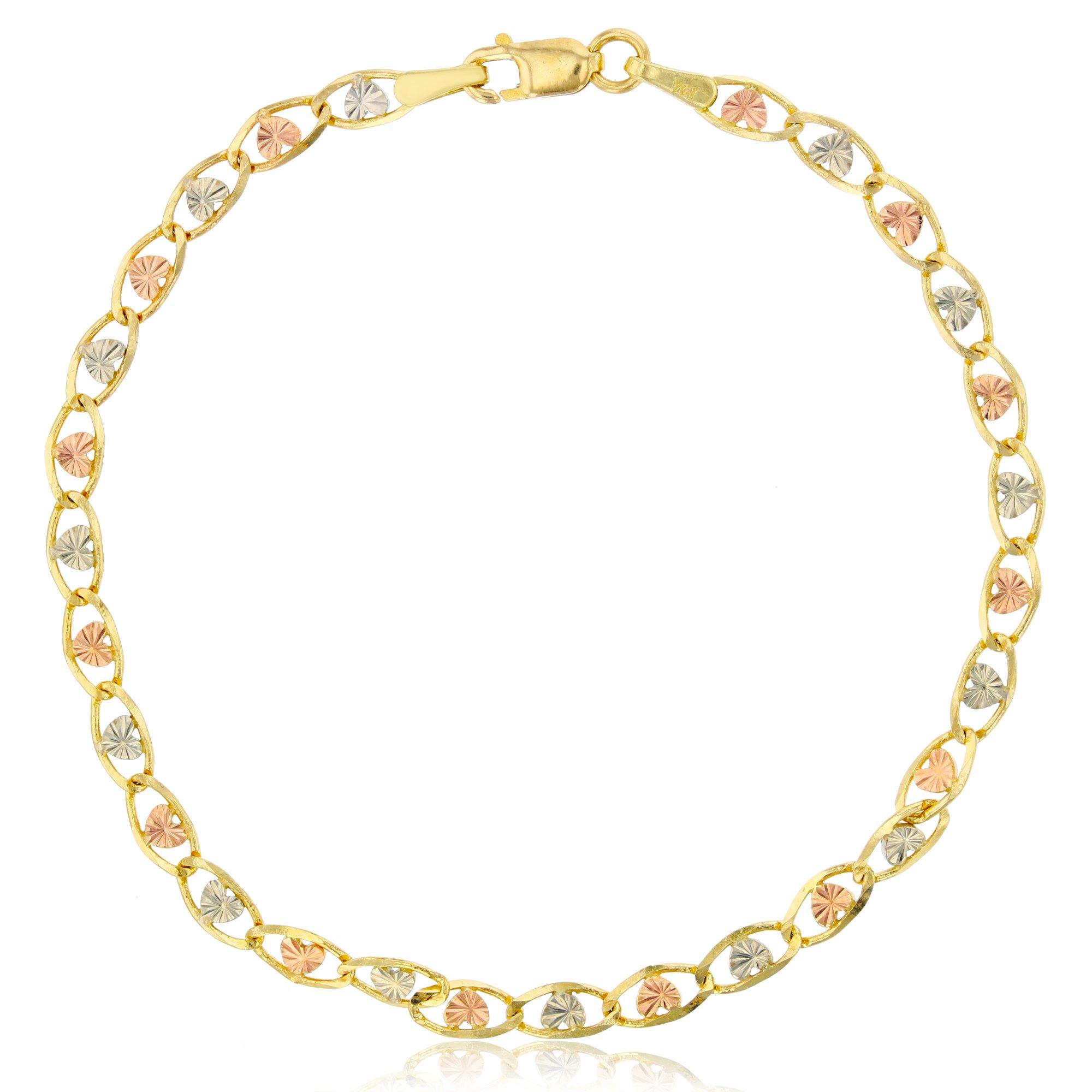14K Gold Tri-Color 3.50mm 7'' Heart-Love Valentino 060 Bracelet