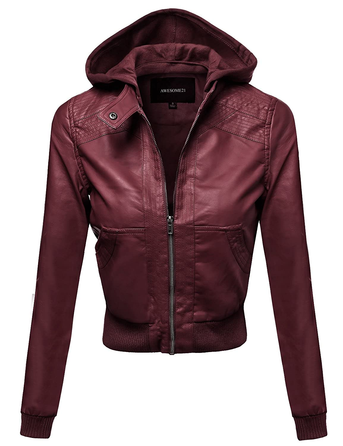 7c27b2d50 Awesome21 Women's Faux Leather Detachable Hood Biker Bomber Jacket