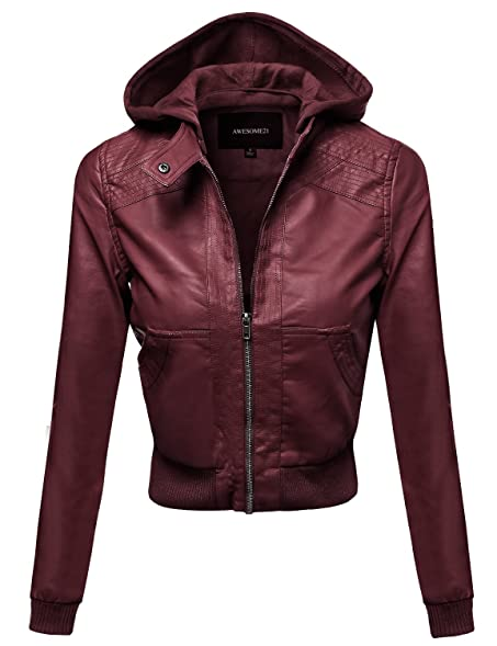 Awesome21 Women's Faux Leather Detachable Hood Biker Bomber Jacket ...
