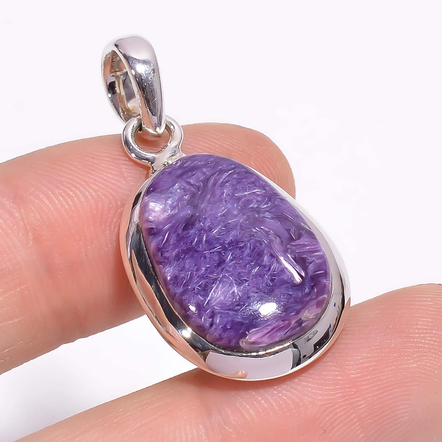 Gift for Women ❤️❤️ Natural Charoite ️Gemstone Pendant//Locket ❤️❤️ 925 Sterling Silver Ladies and Girls Purple Color Handcrafted Designer Stylish Charm Fashion Jewelry Fancy Shape