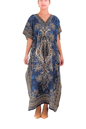 4c775c260c Image Unavailable. Image not available for. Color  Long Kaftan India Women s  Plus Size Kaftan Caftan Top Robe Beach Tunic Dress Cover Up Night