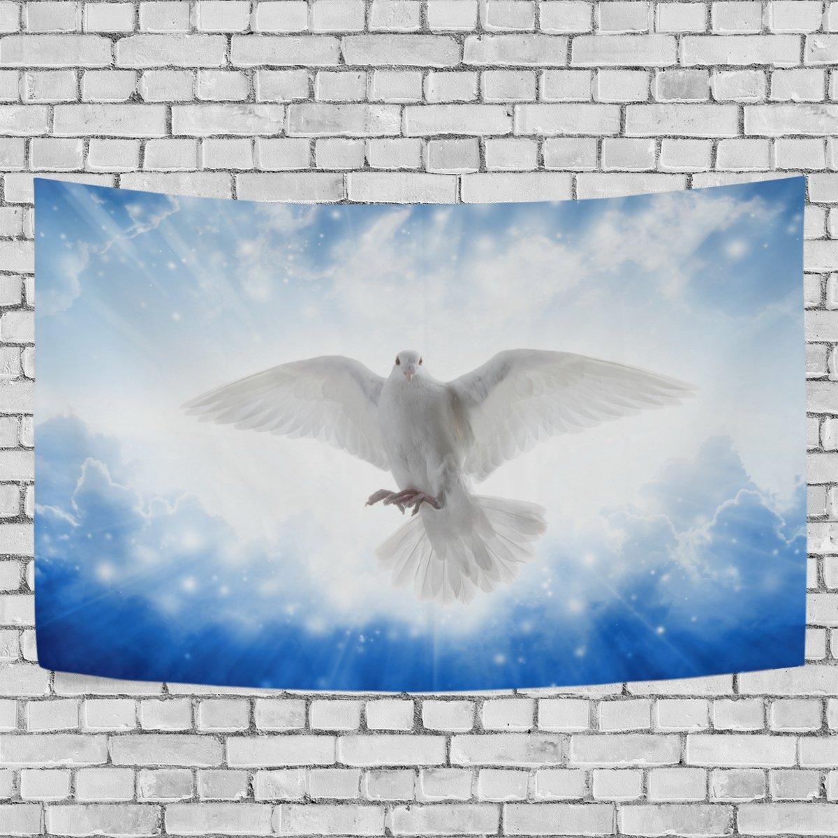 aureliorタペストリー壁Hangingホーム装飾、Holy Spirit Bird Flying Sky Bright light shines from Heavenタペストリー壁装飾アートのリビングルームベッドルーム寮の部屋60 x 40 cm 80 X 60 Inches g3391888p125c139s207   B07BK1WNCF