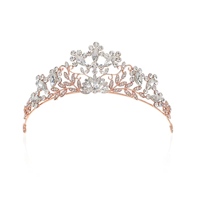 SWEETV Rhinestone Tiara Crystal Crown Bridal Wedding Hair Accessories  Jeweled Head Pieces for Women df4a7bdaa80e