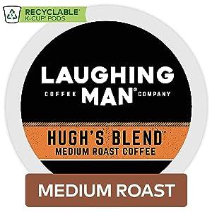 Laughing Man Hugh's Blend, Single Serve Coffee K-Cup Pod, Medium Roast, 16