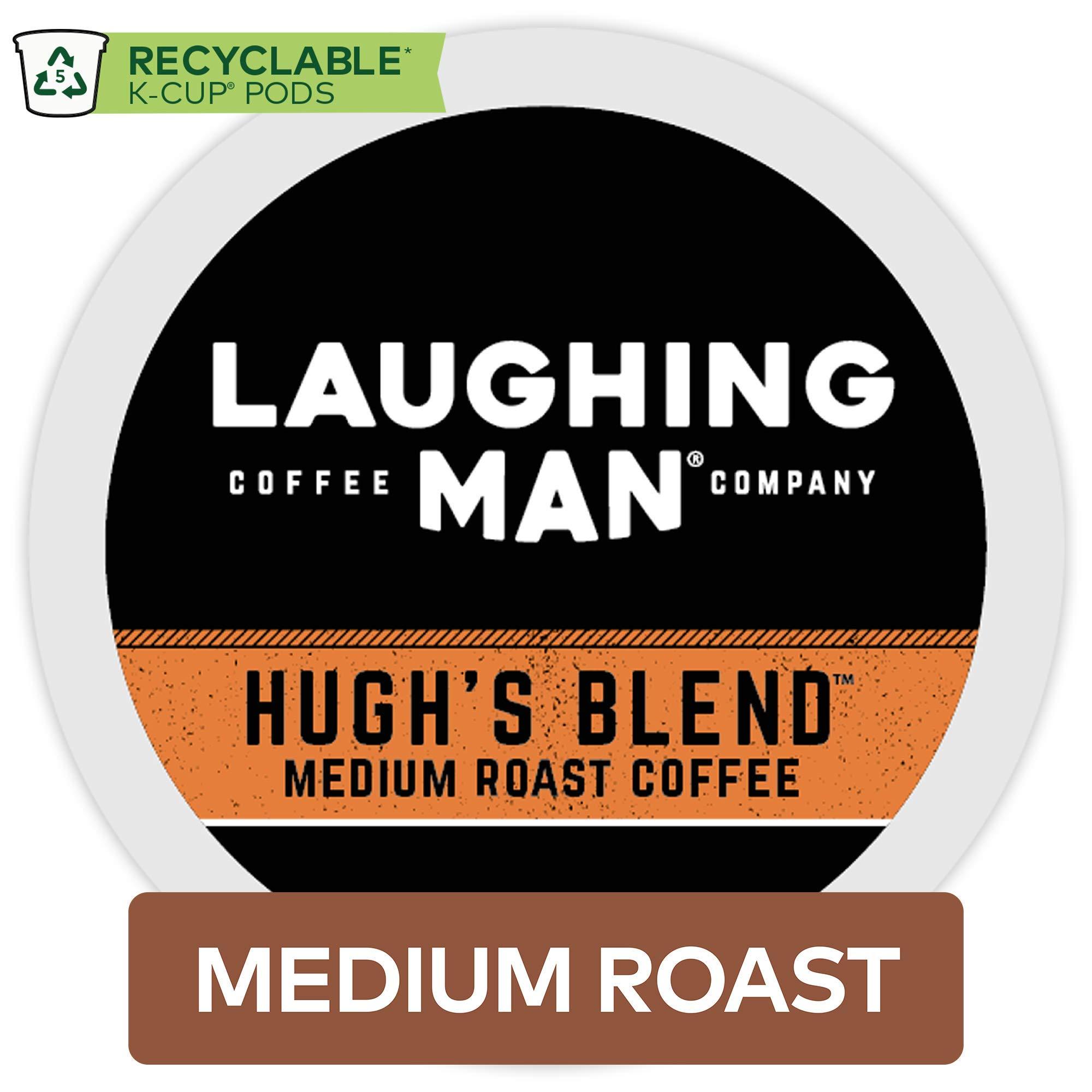 Laughing Man Hugh's Blend, Single Serve Coffee K-Cup Pod, Medium Roast, 60