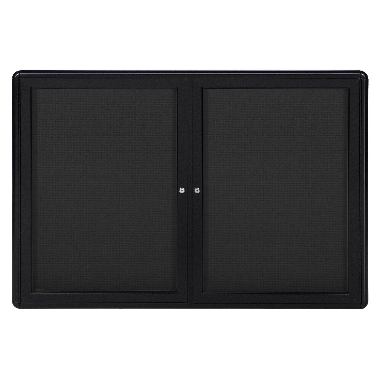 Black Frame 34x47 2-Door Ovation Bulletin Board Black Fabric
