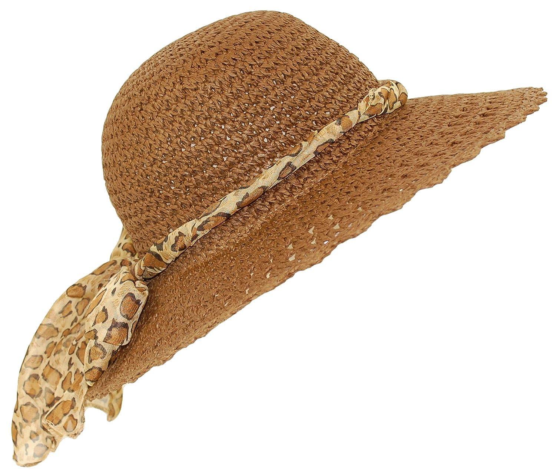 95e872cfc Ladies straw sun hat packable large brim leopard print scarf band (56CM,  BROWN)