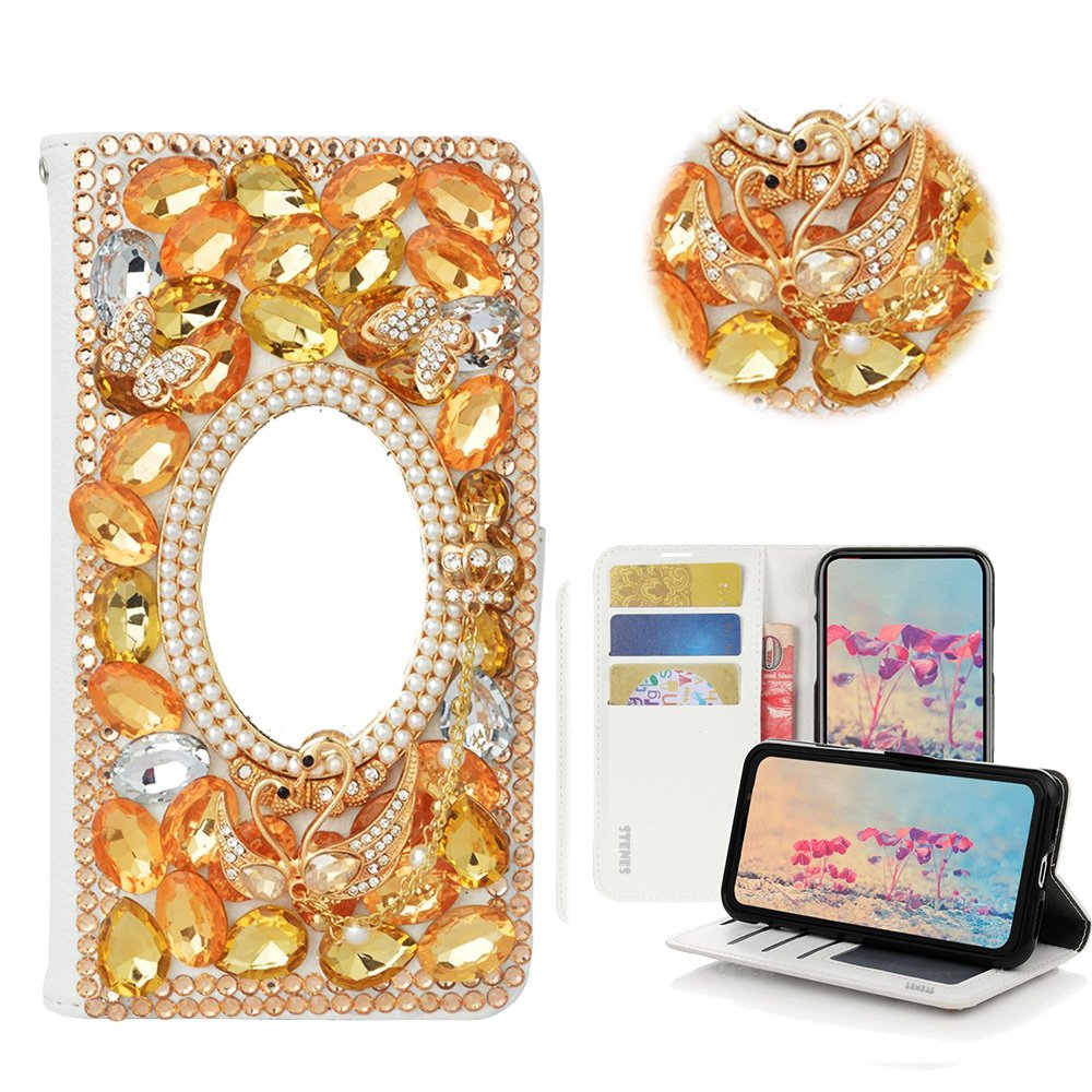 STENES ZTE Blade V8 Pro Case - Stylish - 3D Handmade Bling Crystal Sweet Swan Butterfly Mirror Magnetic Wallet Credit Card Slots Fold Stand Leather Cover for ZTE Blade V8 Pro/ZTE Z978 - Champagne