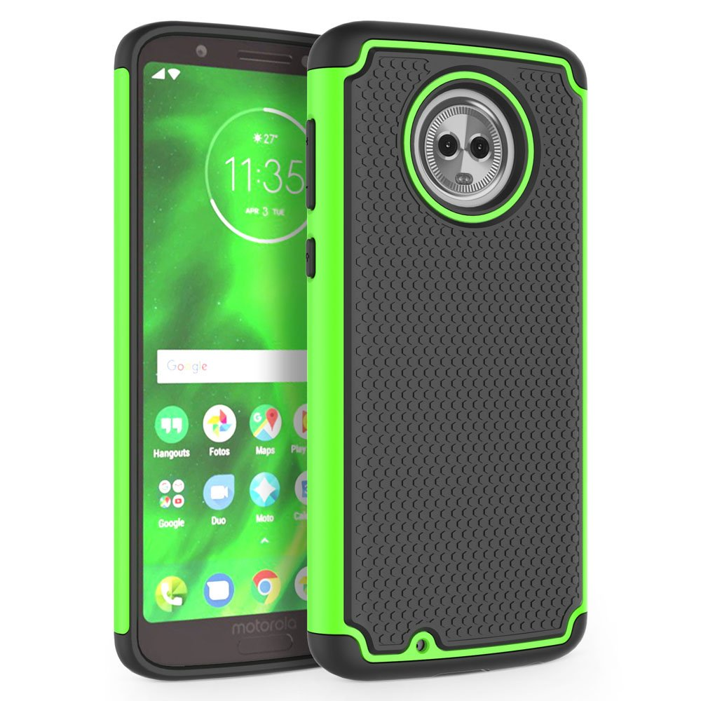 reputable site c6a4a 53583 Moto G6 Case, SYONER [Shockproof] Defender Phone Case Cover for Motorola  Moto G 6th Generation [Green]