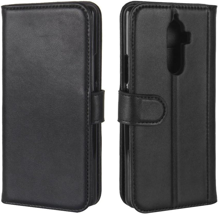 For Lenovo K8 note Case,JWYT Genuine Real Leather Credit Card Slot Magnetic Flip Wallet Case Stand Cover Skin For Lenovo K8 note (Black, Lenovo K8 note)
