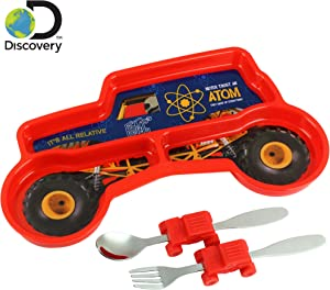 KidsFunwares Monster Truck Me Time Meal Set, Portion Control Divided Plate with Fork and Spoon for Kids