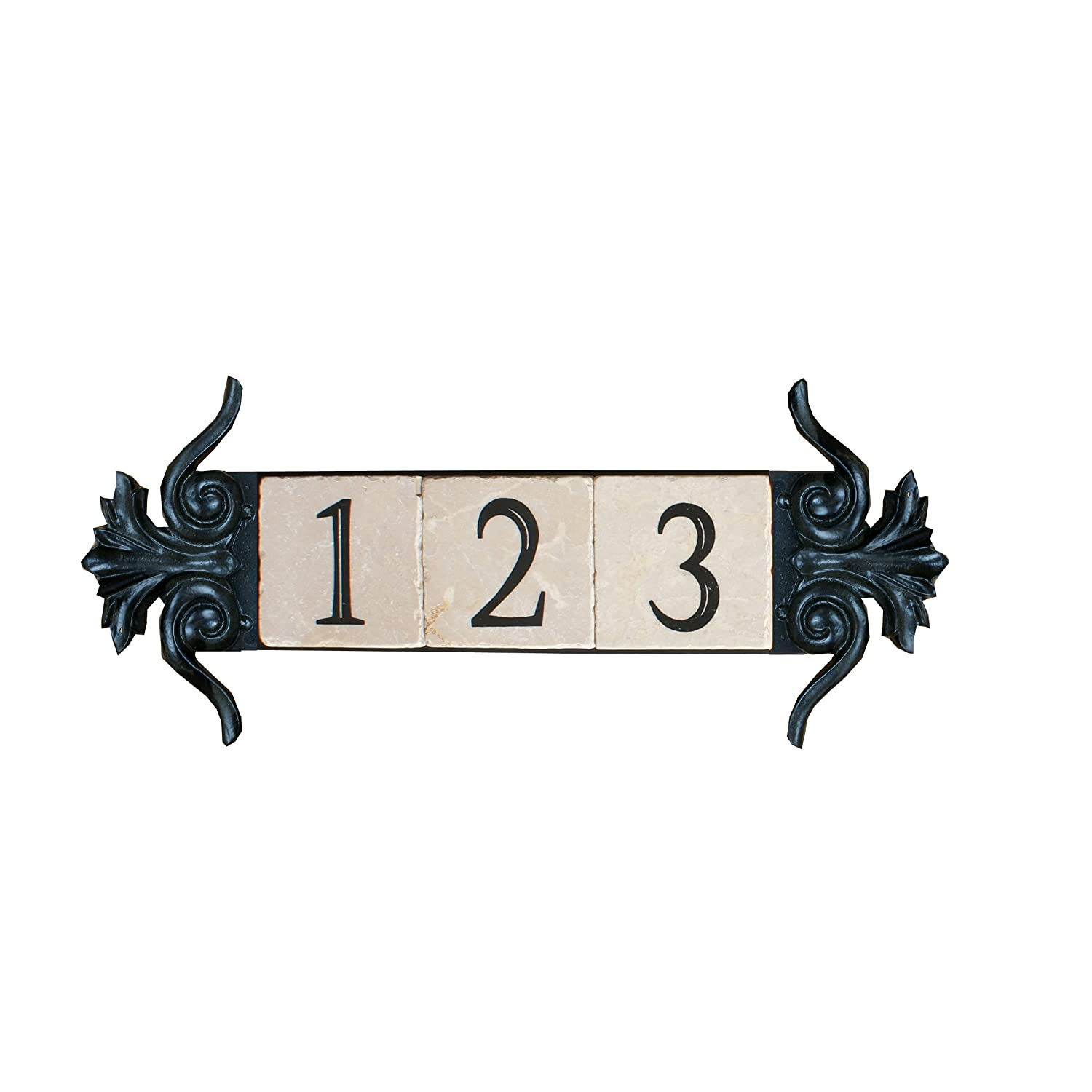 NACH KA House Address Sign/Plaque - Grapes, 4 Numbers, Iron, 16 x 8 x 1' 16 x 8 x 1 North American Country Home ka-grapes-4