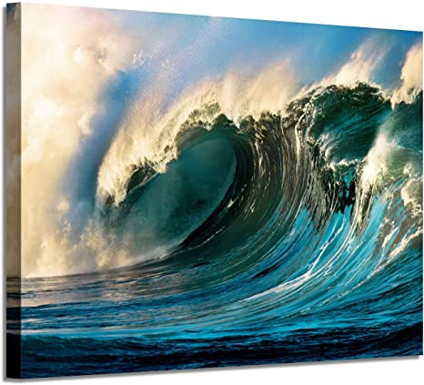 Amazon Com Ocean Waves Picture Canvas Art Seascape Graphic Artwork Painting Print For Home Office Hotel Wall 36 X24 X 1 Panel Posters Prints