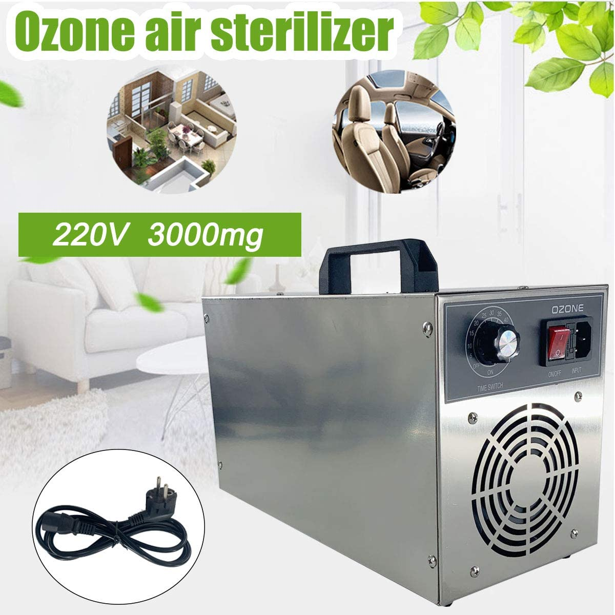 SNOWINSPRING 21G H Generador de Ozono de Cer/áMica Port/áTil 220V Tres Placas de Cer/áMica de Larga Duraci/óN Integradas Ozonizador Aire Agua Purificador de Aire