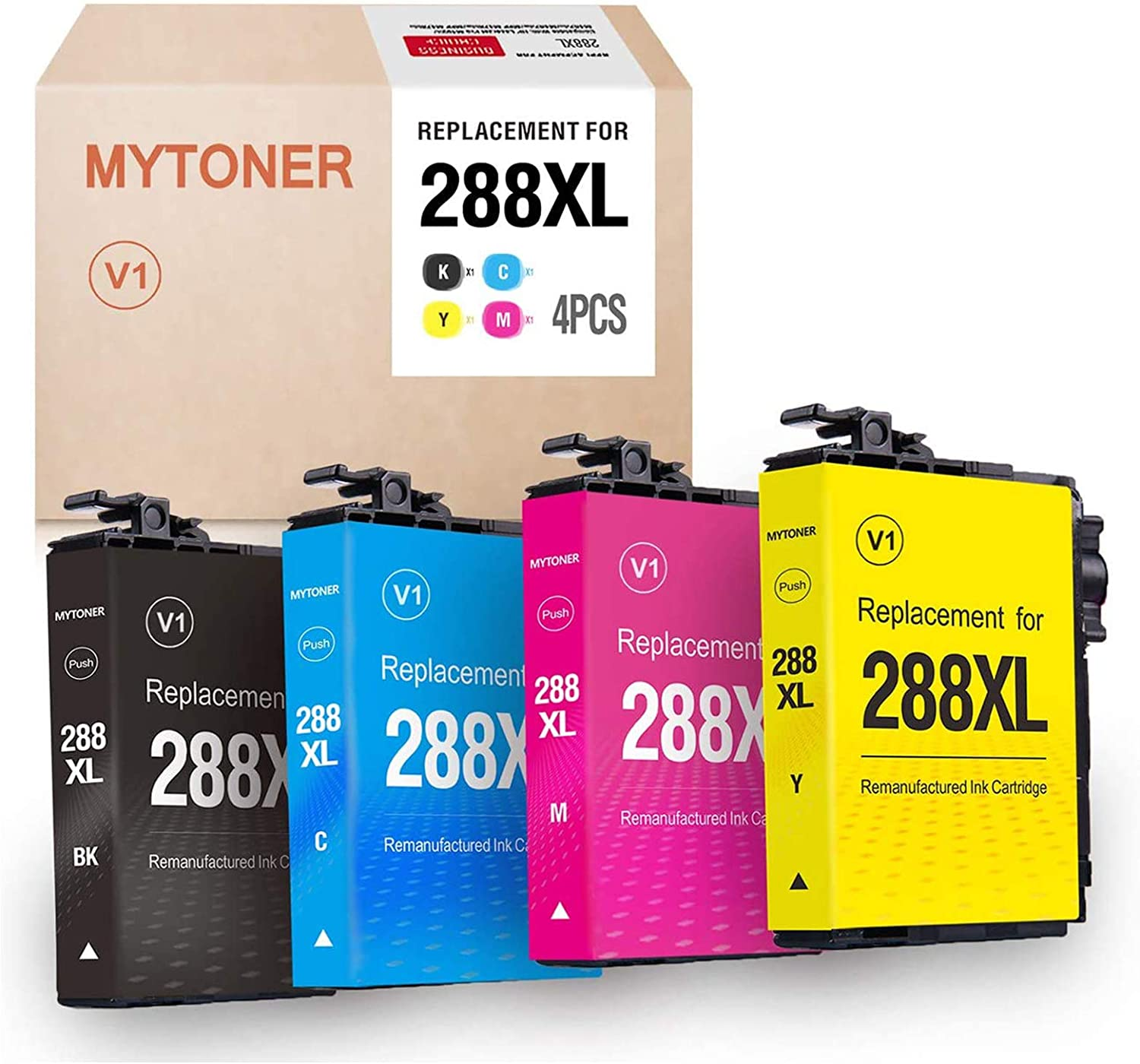 MYTONER Remanufactured Ink Cartridge Replacement for Epson 288XL 288 XL T288XL Ink Cartridges for Expression Home XP-440 XP-430 XP-340 XP-330 XP-446 XP-434(Black, Cyan, Magenta, Yellow, 4-Pack )