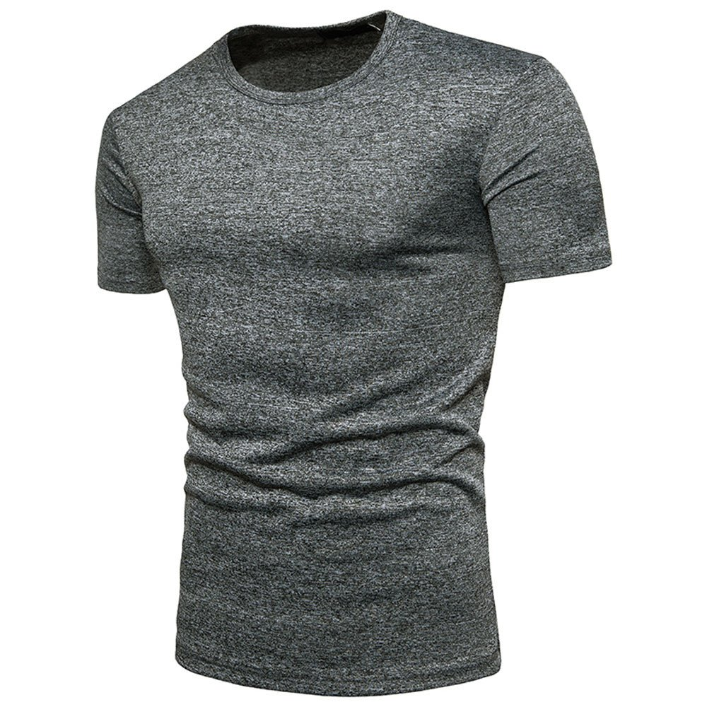 Mens Summer Casual Solid Round Neck Pullover T-Shirt Top Blouse Yutao Basic Cotton T Shirt