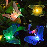 Ucharge S12 Fiber Optic Butterfly Shaped 12 LED Solar String Lights, Multi