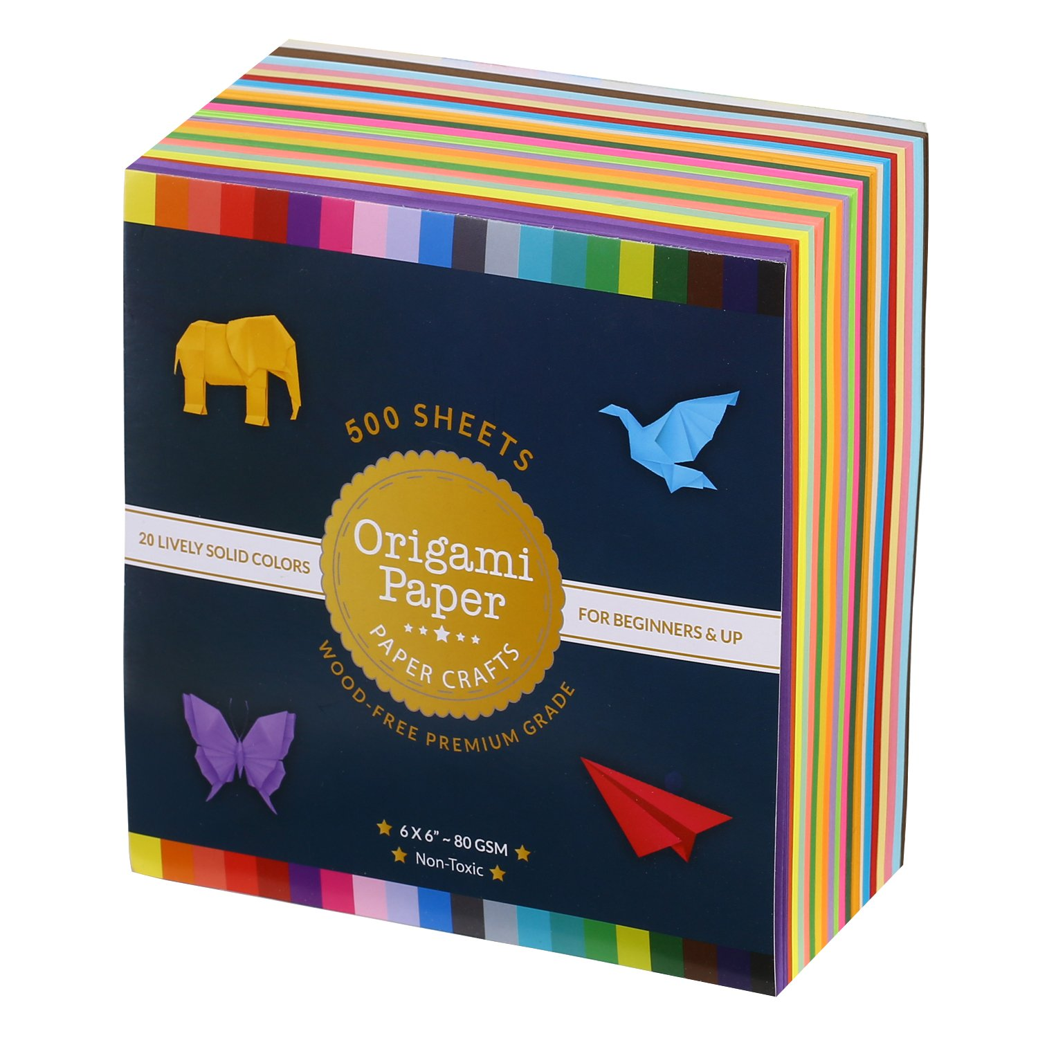 Origami Paper Double Sided Color 500 Sheets - 20 Colors with 6 inch Square Size for Art Projects BUBU ORI-500