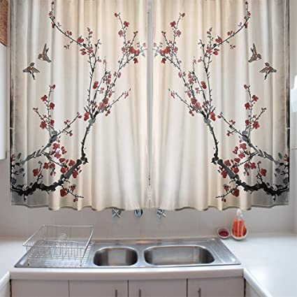 Amazon.com: oFloral Kitchen Curtains Pastel Cherry Branches ...