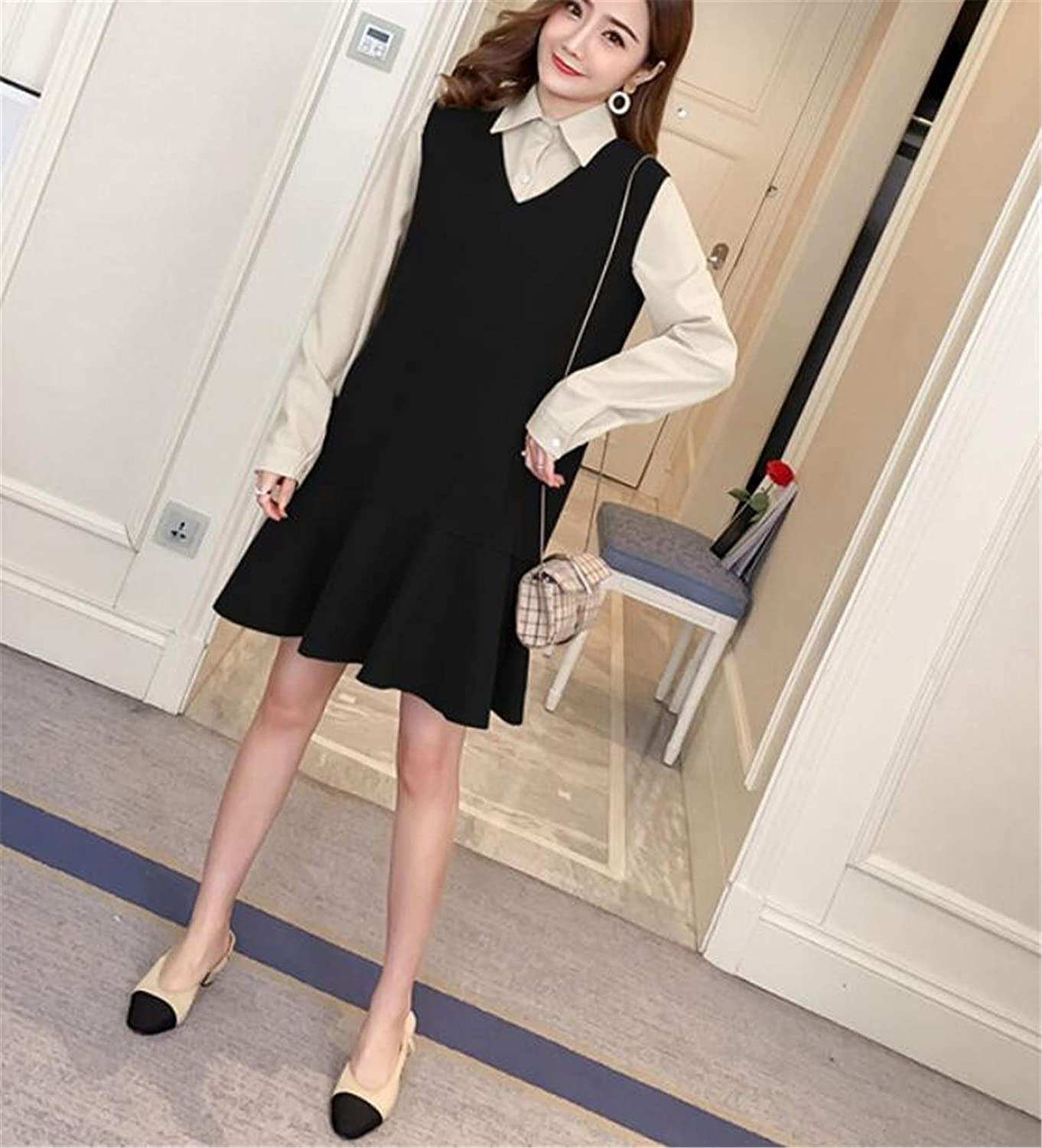 B Maternity Wrap Dress, Comfortable Fabric Long Sleeve Cotton Shirt Two Piece Vest Dress Maternity Dress (Vest + Shirt)