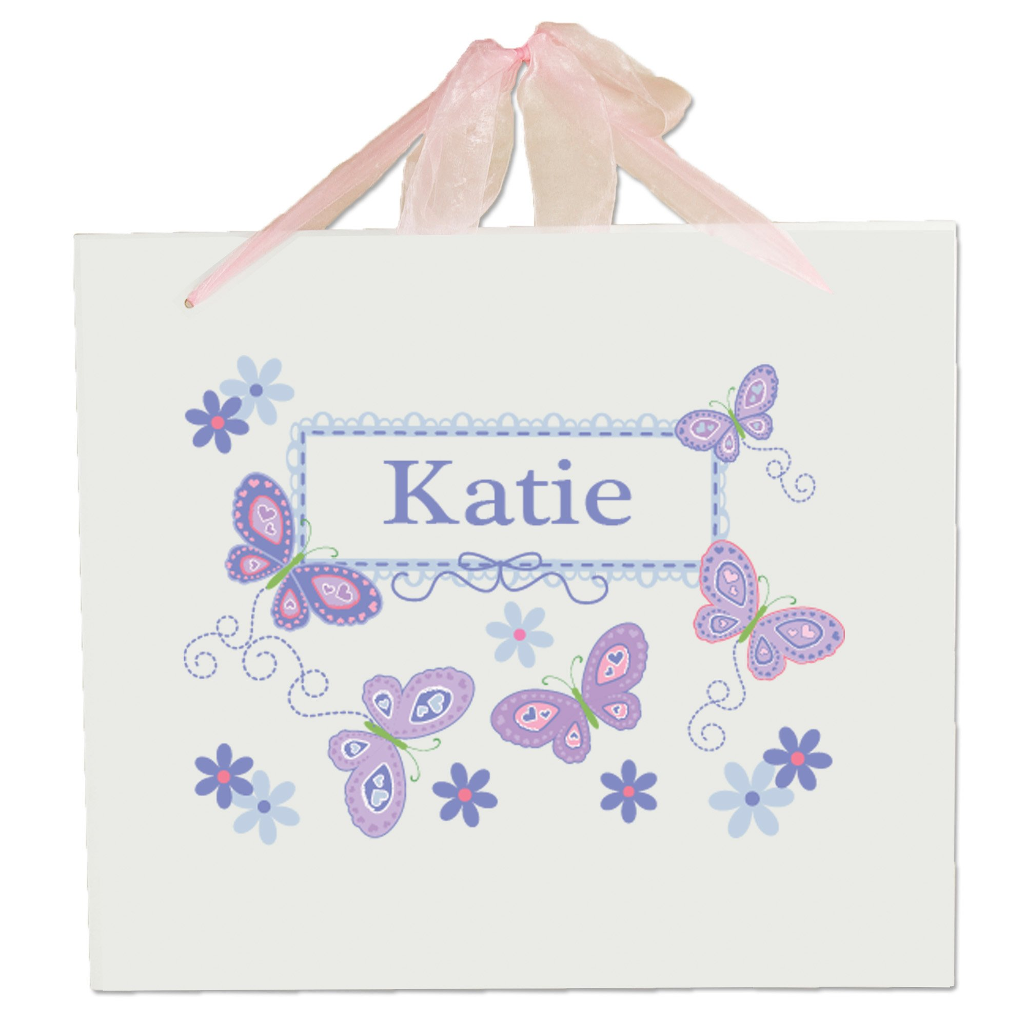 Personalized Girls Nursery Wall Sign with Lavender Butterflies Design
