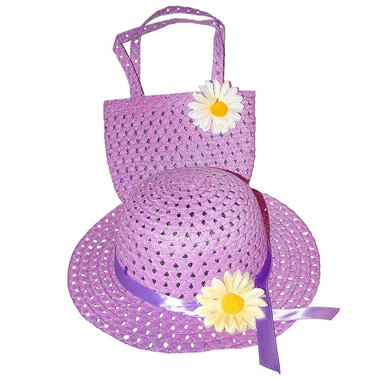 daisy dress up tea party girls easter straw hat purse set kid 39 s cute gift. Black Bedroom Furniture Sets. Home Design Ideas