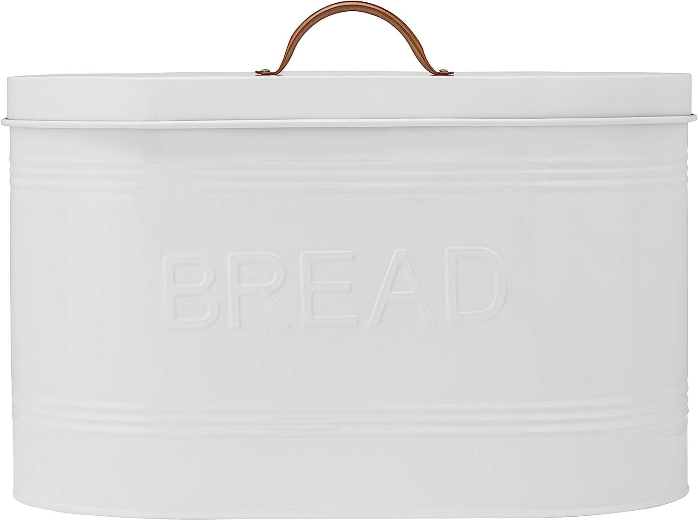 Amici Home Rustic Kitchen Metal Bread Storage Bin, 288 oz, White