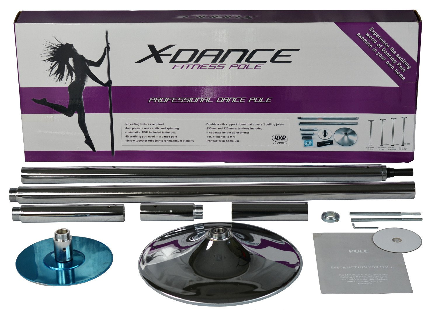 X-Dance Portable Fitness Exercise Spinning and Stationary Chrome Pole Dance 45mm