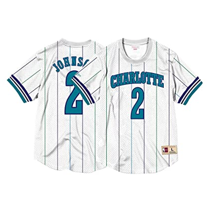 666dfee94 Mitchell   Ness Larry Johnson Charlotte Hornets Printed Name and Number  Mesh Crewneck Jersey (Large