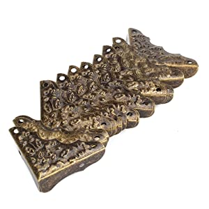 BQLZR Vintage Antique Decorative Corner Protectors Guards Desk Edge Cover Bronze Pack Of 20