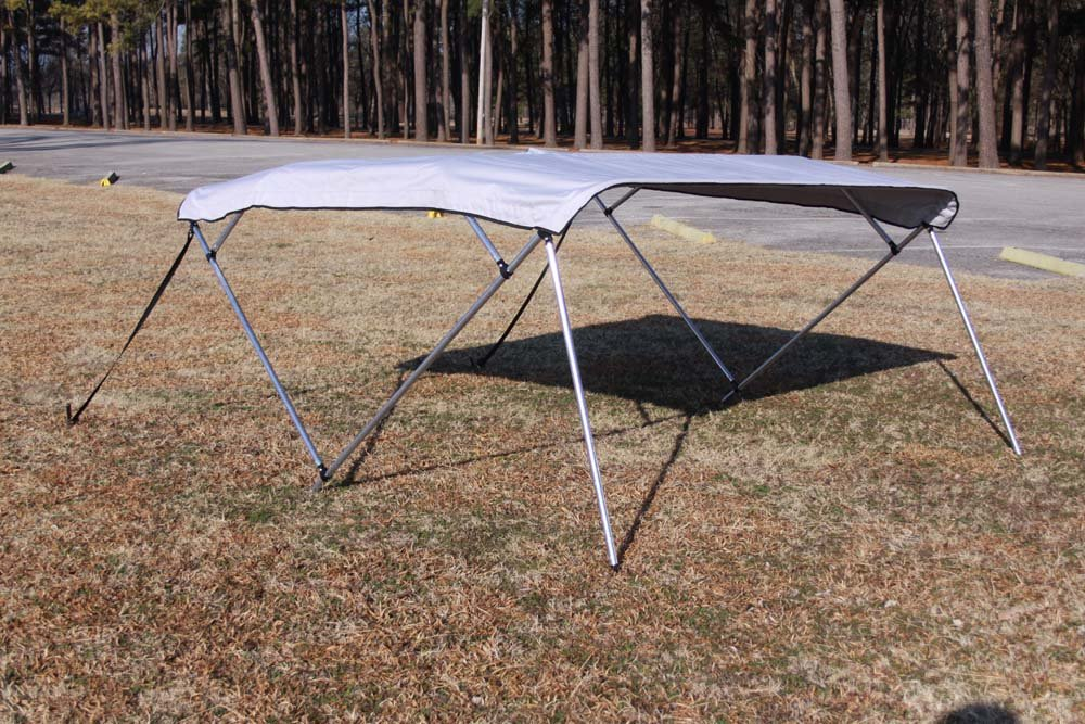New GRAY/GREY Vortex Pontoon / Deck Boat 4 Bow Bimini Top 12' Long, 91-96'' Wide, 54'' High, Complete Kit, Frame, Canopy, and Hardware (FAST SHIPPING - 1 TO 4 BUSINESS DAY DELIVERY)