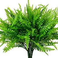 4 Pcs Artificial Ferns Plants Bushes Artificial Fake Boston Fern Shrubs Plastic Plant Greenery for Outdoor UV Resistant…