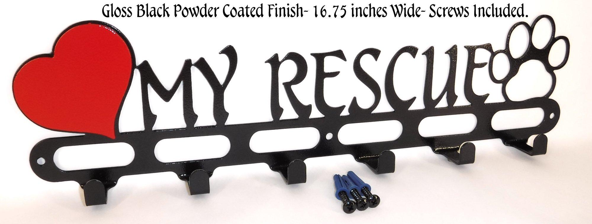 Dog Leash Wall Hook. Holder. Hanger. I Love My Rescue. Gloss Black Texture. Handmade in USA.