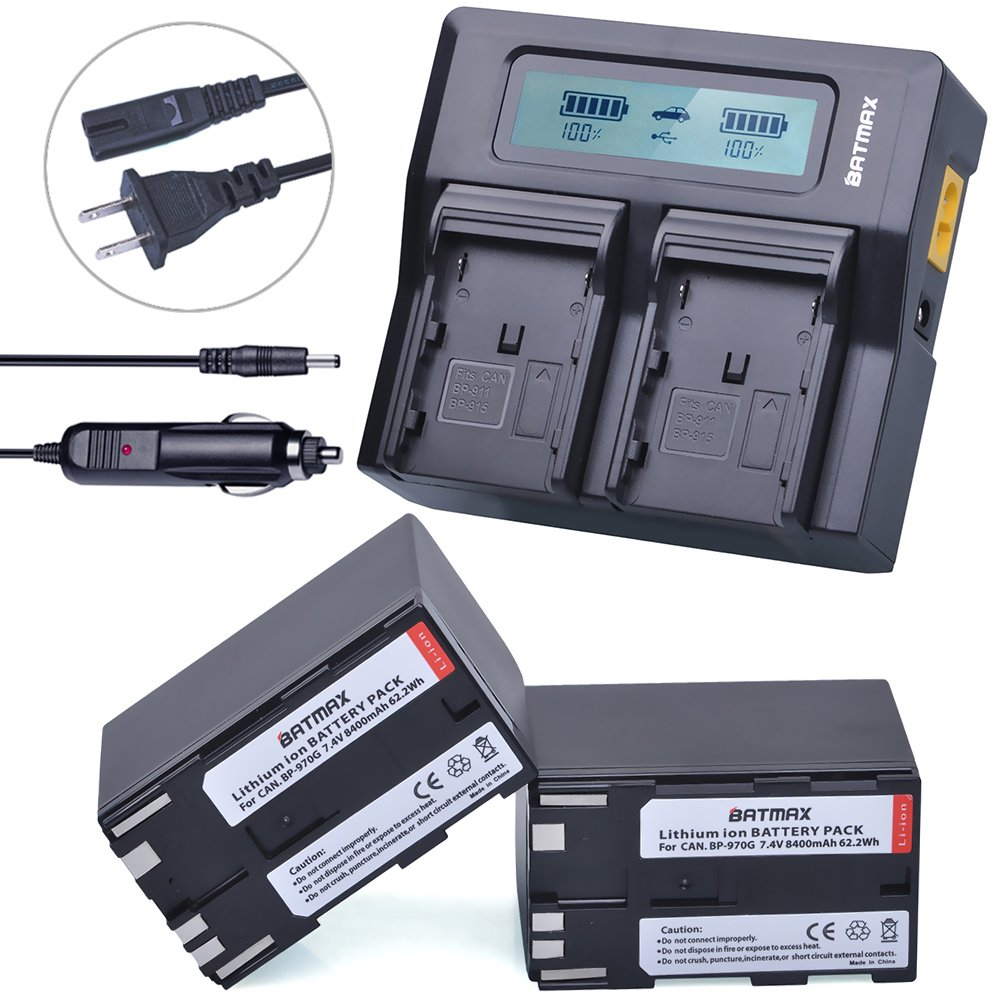Batmax 2Pcs 8400mAh BP-970G,BP-975 Battery Packs + 3X Faster LCD Display Dual Charger Car Plug for Canon BP-970G Canon EOS C100, EOS C100 Mark II, EOS C300, EOS C300 PL, EOS C500, EOS C500 PL, GL2, XF