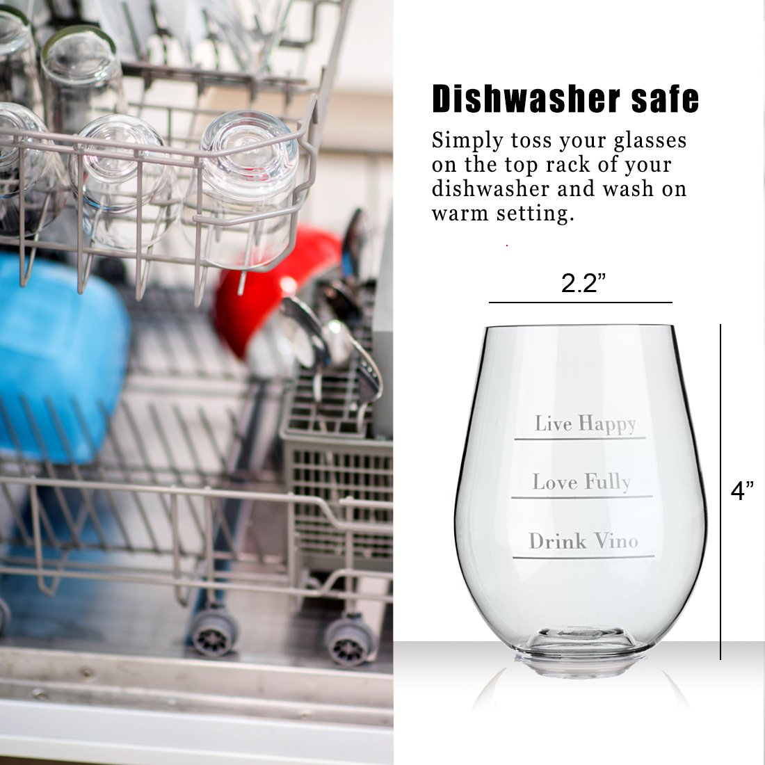 Avery Barn Tritan Wine Glasses Stemless With Saying | 6pc Set 12oz Unbreakable Shatterproof Acrylic Glassware Tumblers | BPA-Free Plastic | For Red White Wines | Boat & Pool Parties | Dish Washer Safe by Avery Barn (Image #6)