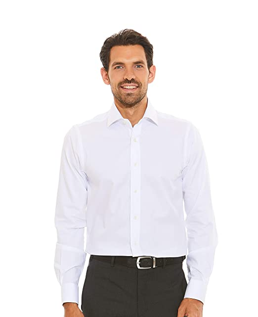 Savile Row Mens White Herringbone Pattern Slim Fit Shirt Barrel Cuff