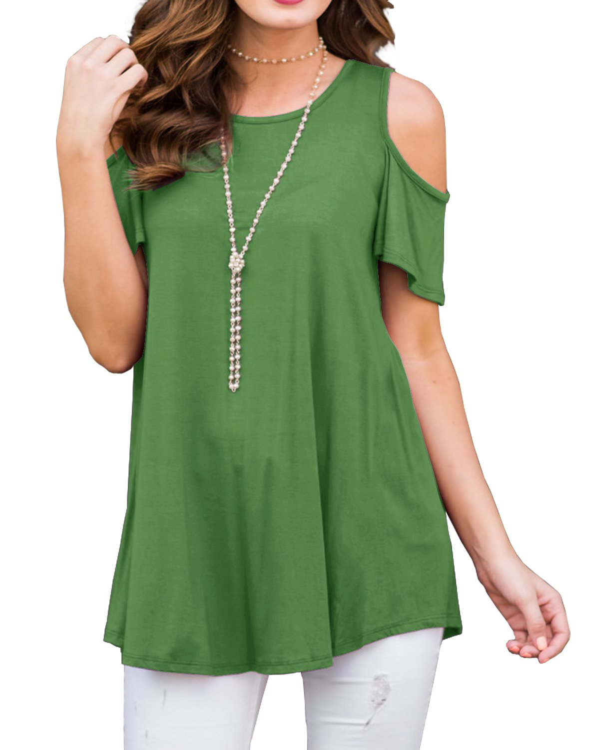 PrinStory Womens Short Sleeve Off Shoulder Round Neck Casual Loose Top Blouse T-Shirt Grass Green-XL