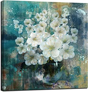 """Anolyfi Canvas Wall Art White Flowers Modern Bloosom Prints Framed Florals Picture Blue-Green Teal Artwork for Bathrooms Kitchen Bedroom Home Office Wall Decor, 20""""x20"""" Square Size One Panel"""