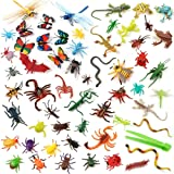 Auihiay 58 Pieces Plastic Insects Toys Assorted Play Bugs Toddler Bug Toys with Plastic Tweezers for Kids Education Insect Th