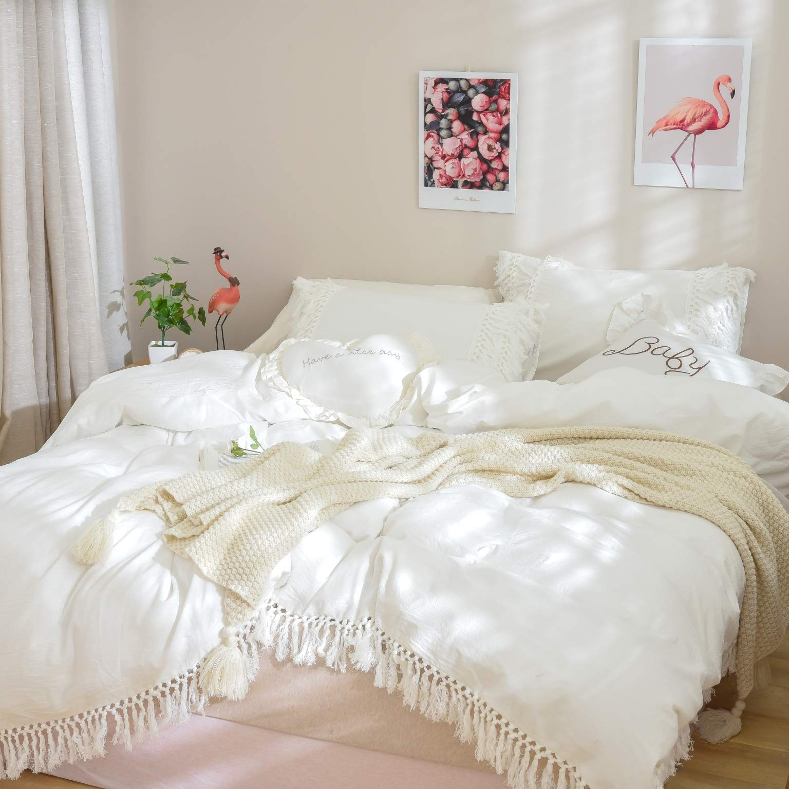 Softta Boho Bedding Tassel Duvet Cover Fringed Twin 3 Pcs 100% Washed Cotton Vintage and Elegant Ruffle Duvet Covers White